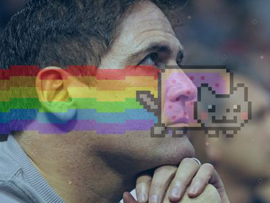 """In this photo illustration, Dallas Mavericks owner Mark Cuban (photo: Louis DeLuca, Jan. 12, 2013) is pictured with """"Nyan Cat"""", a viral sensation created by Plano resident Chris Torres in 2011."""