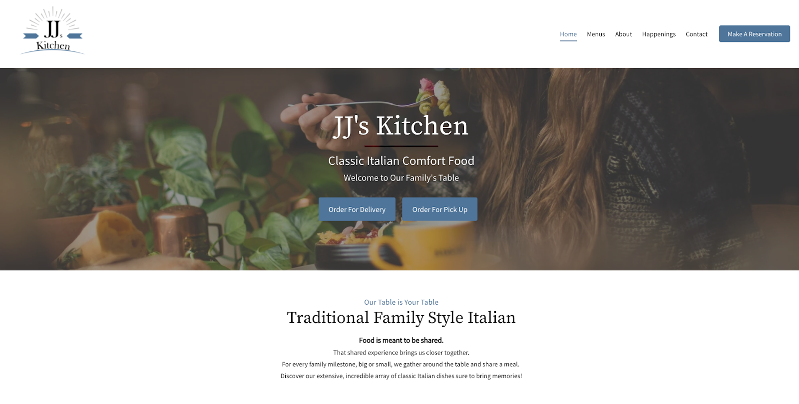 screenshot of JJs Kitchen website which uses website design principle - color theory